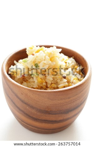 Asian food, egg and roasted pork fried rice - stock photo