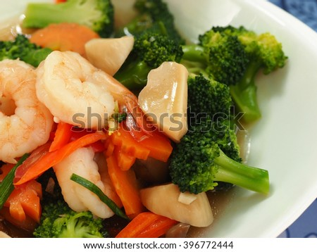 asian food fresh broccoli stir fried with shrimp, chinese cuisine