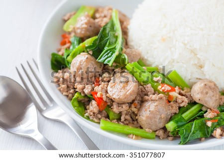Asian food , Fried chinese broccoli with pork and meat ball