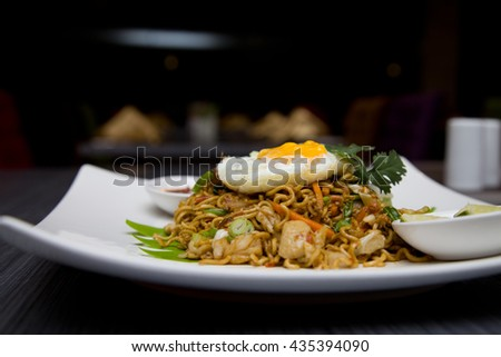 asian food fried noodle with egg