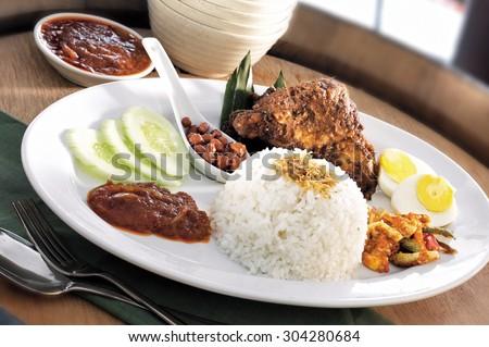 Asian food nasi lemak - stock photo