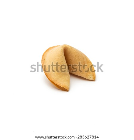 asian fortune cookie on white background - stock photo