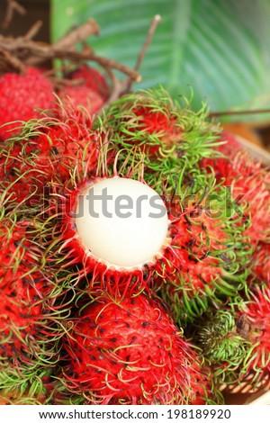 asian fruit rambutan from Thailand - stock photo