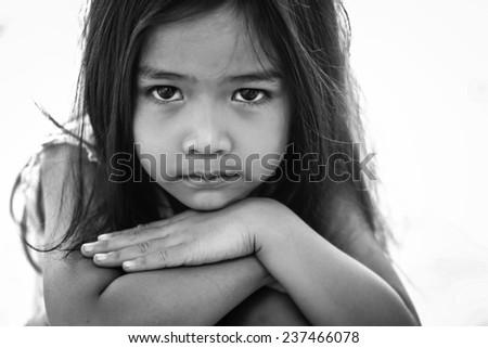 Asian girl are sad. - stock photo