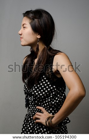 Asian girl get angry and make angry face - stock photo