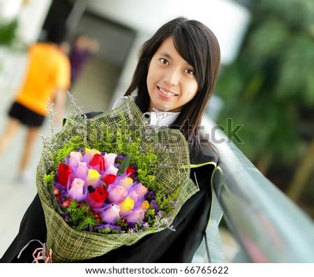 asian girl graduation - stock photo