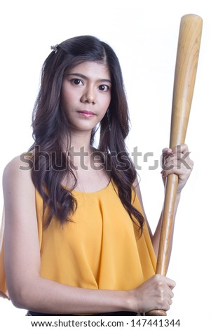Asian girl holding a baseball bat. - stock photo