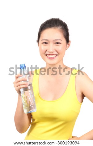 Asian girl holding a bottle of water