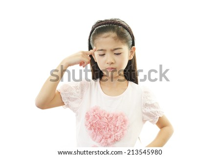 Asian girl in an uneasy look - stock photo