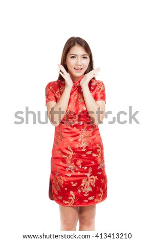 Asian girl in chinese cheongsam dress  isolated on white background