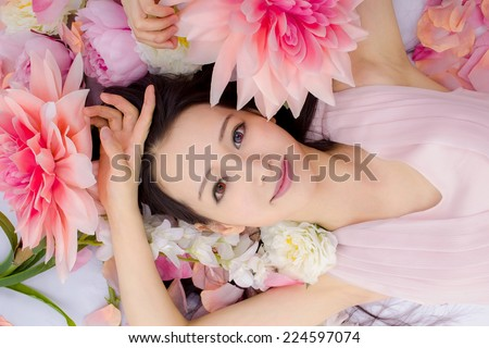 asian Girl in flowers spa make-up - stock photo