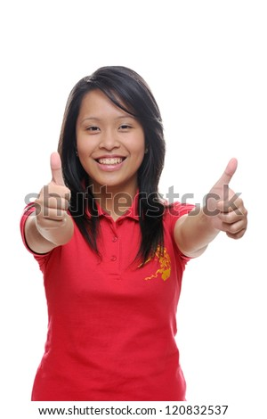 Asian girl in red shirt with thumbs up