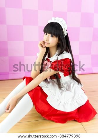 asian girl maid cosplay anime japanese style - stock photo