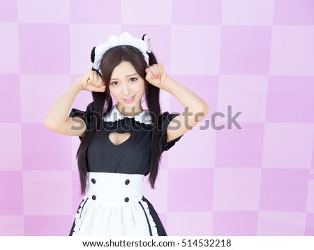 asian girl maid cosplay anime japanese style