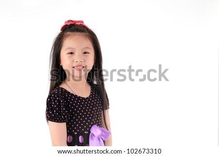 Asian girl Portrait isolated white background - stock photo