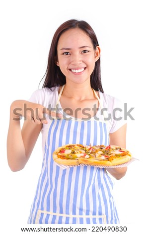 Asian girl show and holding seafood pizza in smile face isolated.