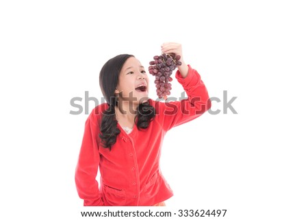 Asian girl smile on white background isolated