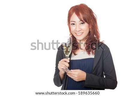 Asian girl smile with a glass of white wine in her hand isolated on white background