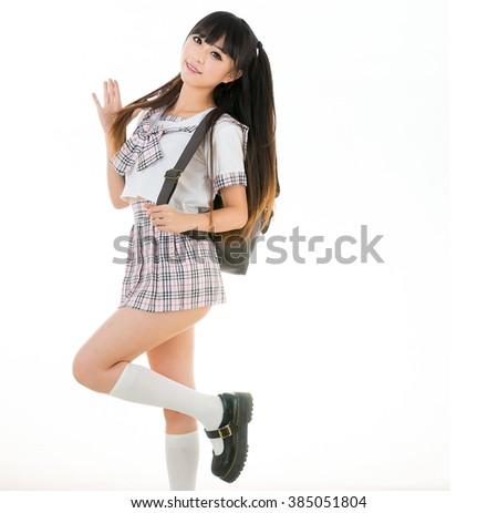 asian girl student in school uniform - stock photo