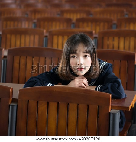 asian girl student in school uniform japanese style - stock photo