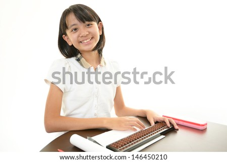 Asian girl studying - stock photo