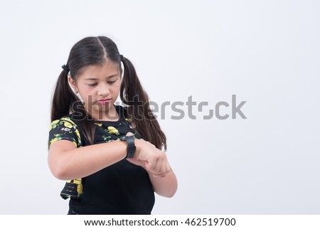asian girl waiting looking watch time late checking hand wristwatch wait