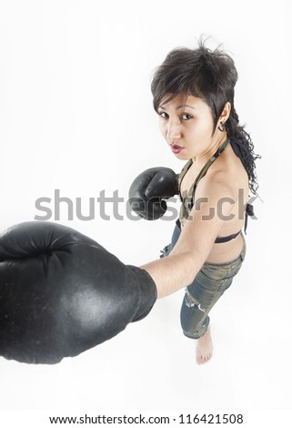 Asian girl with boxing gloves