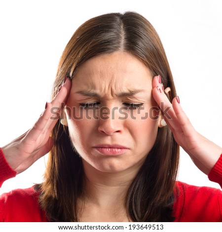asian girl with headache over isolated white background