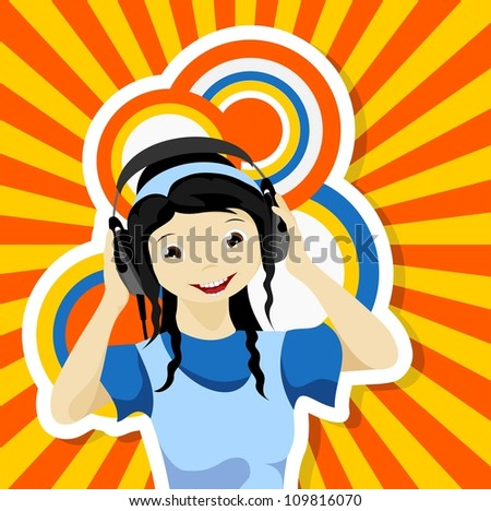 asian girl with headphones listening to music - bitmap copy