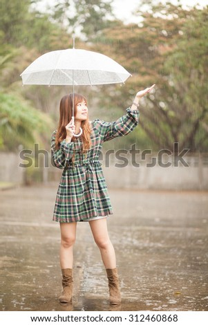 Asian girl with umbrella in rainy day. processed in lonely mood and tone.
