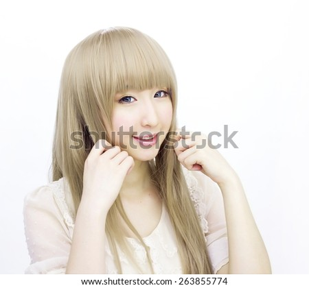 asian girl woman golden hair fashion japanese style - stock photo