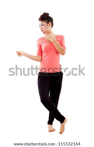 asian girl yoga with isolated white background