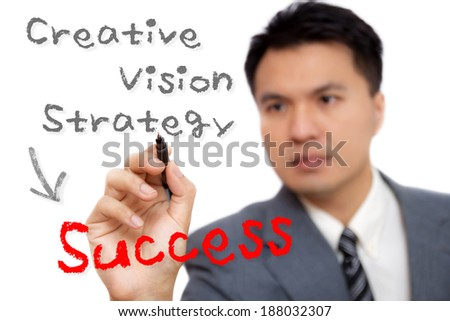 Asian handsome businessman write Strategy to Success, isolated