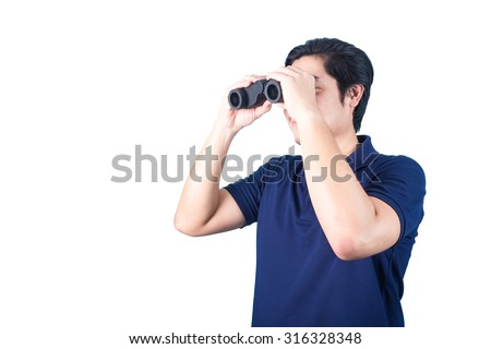Asian handsome man holding binoculars in hands, isolated on a white background.