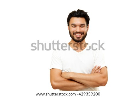 Asian handsome man with a mustache, smiling and laughing isolated on white background ,soft focus - stock photo