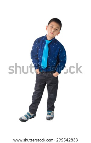 Asian Happy Boy with necktie standing and Smiling, isolated on white background