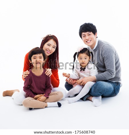 Asian happy family isolated on white background.