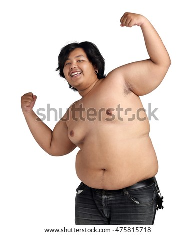 Asian Happy Fat Boy Acting Bodybuilding feeling good Health isolated on white background