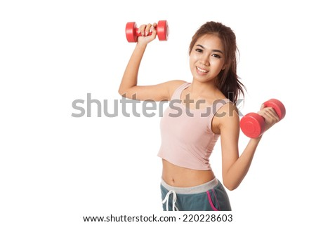 Asian healthy girl workout with dumbbell  isolated on white background