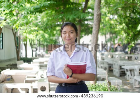 asian high student  girl in white uniform.student concept. - stock photo