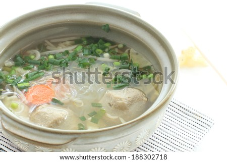 Asian hot pot, vermicelli and fish ball in soup