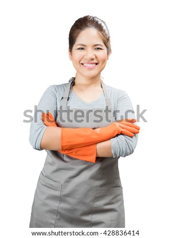 asian housewife wearing rubber gloves crossed arms isolated on white - stock photo