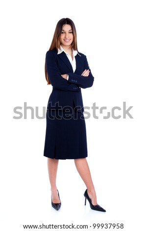 asian indian business woman full length with blue suit isolated on white - stock photo