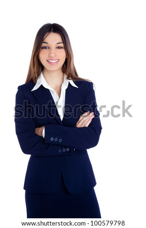 asian indian business woman happy smiling with blue suit isolated on white - stock photo