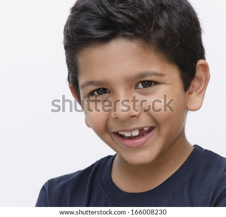 Asian Indian kid with face expression - stock photo