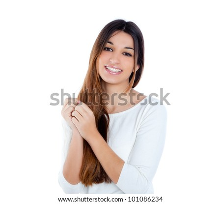 Asian indian shy brunette girl smiling portrait on white background - stock photo