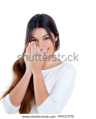 Asian indian shy brunette girl smiling portrait with hands in face - stock photo