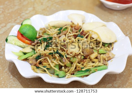 asian indonesian food named mie goreng or fried noodle original from china