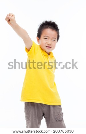 Asian kid hands up isolated on white.  - stock photo