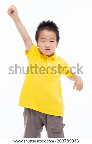 Asian kid hands up isolated on white.